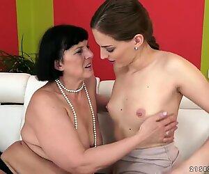 Lyen Parker sits her sweet pussy on a grandmas face