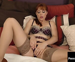 Redheaded Horny Hottie Penny Pax Stuffs Her Warm Mouth & Pink Pussy!