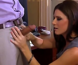 Hot babe the steaming sexretary plays with her chief