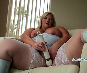 Amazing big thighs in white nylon stockings