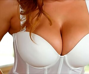 Natasha cute makes her fat titties bounce while she striptease in her bed