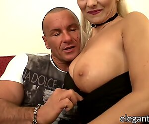 Voluptuous Eurobabe maid toys her butt before getting fucked