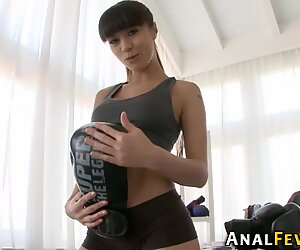 Cute flirty got a deep penetration of two cocks in her holes.