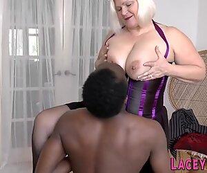 Horny granny rides black schlong
