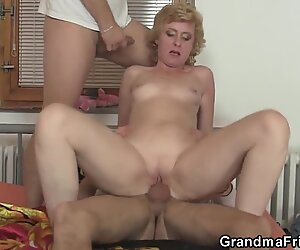 Delivery guys share small titted old lady