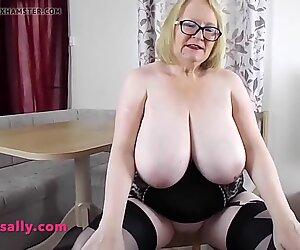 BBW big tits Grandma models her corset stockings and heels
