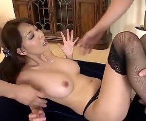 Torrid brown haired jap slut Akari Asagiri gets drilled in threesome