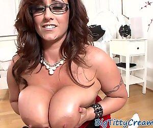 Tittyfucking MILF sucks cock POV style