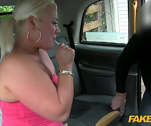 Chubby blonde fucked by fraud driver