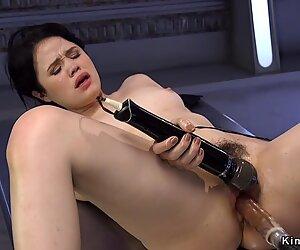 Solo hairy brunette fucking machine