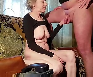 Rusian gray-haired skinny granny husband always cums on tits