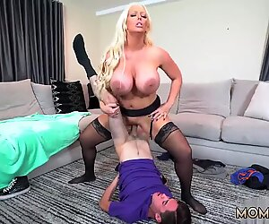 Brunette milf huge fake tits and country Step Mom s New Fuck Toy