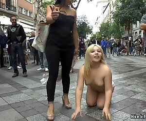 Chubby blonde disgraced outdoor