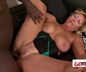 BIG blonde granny tries BIG BLACK COCK for the first time