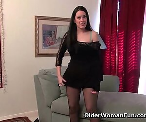 American milf Nyla plays with her nyloned pussy