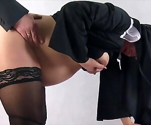 prego nun taken by surprise and penetrated from behind