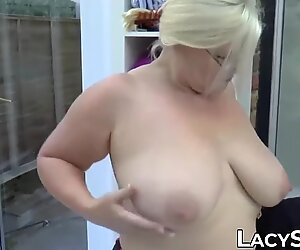 Busty British GILF catches a guy watching her and fucks him