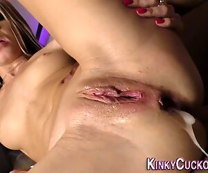 Cuckolder gets spitroasted and ass creampied