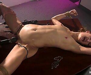 Hairy pussy babe anal banged in bondage