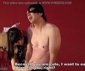 Japanese Dominatrix Bites Slave Body