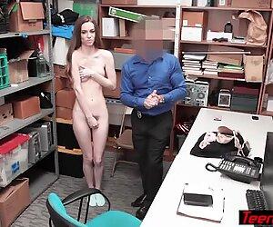 Tall skinny shoplifter slut enjoyed her punishment
