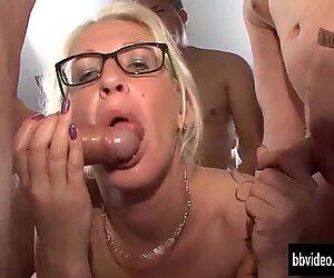 Sexy german milf lick sperm in groupsex