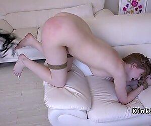 Hogtied pale slave hairy cunt banged