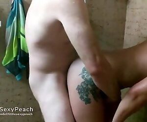 small sex toy gets huge dildo and bf's buddy with a big white boner