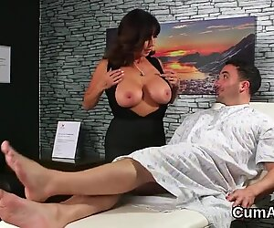 Unusual babe gets cum shot on her face sucking all the love juice