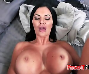 Busty MILF loves to sleep naked when her husband is not at home.