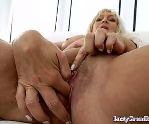 Naughty granny bends over for cock