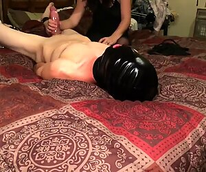 woman edges stud and makes him cum on his own face and jaws