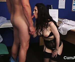 Horny idol gets cumshot on her face eating all the ejaculate