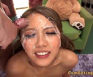 Wild exotic bukkake teen film. How much cum on her face.
