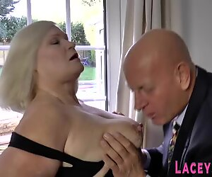 Grandma with big tits gets butt fucked