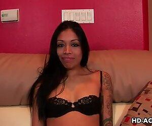 Tattooed Latina Rayne Rodriguez gives blowjob